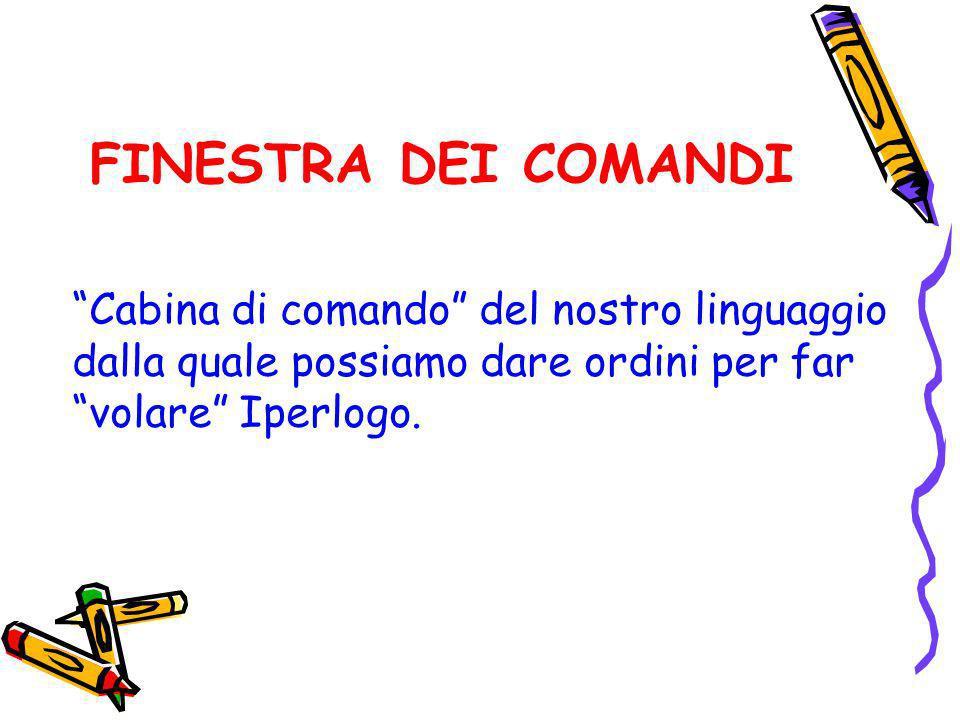 FINESTRA DEI COMANDI Cabina di comando del nostro linguaggio dalla quale possiamo dare ordini per far volare Iperlogo.