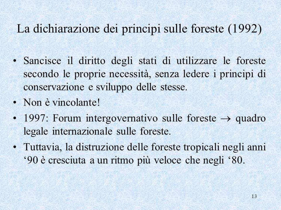 La dichiarazione dei principi sulle foreste (1992)