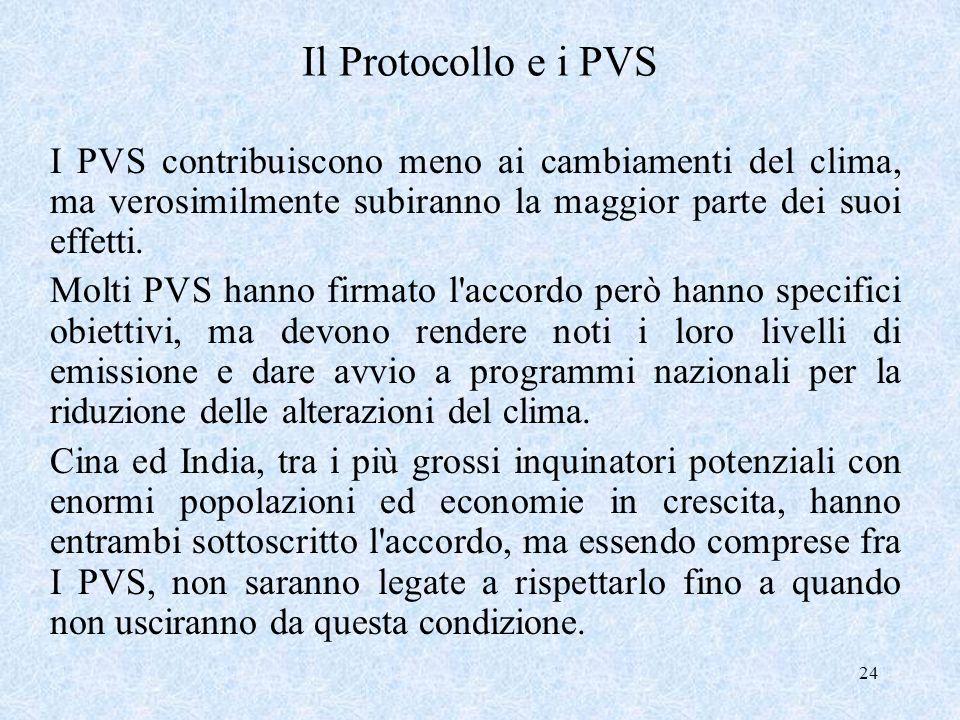 Il Protocollo e i PVS I PVS contribuiscono meno ai cambiamenti del clima, ma verosimilmente subiranno la maggior parte dei suoi effetti.