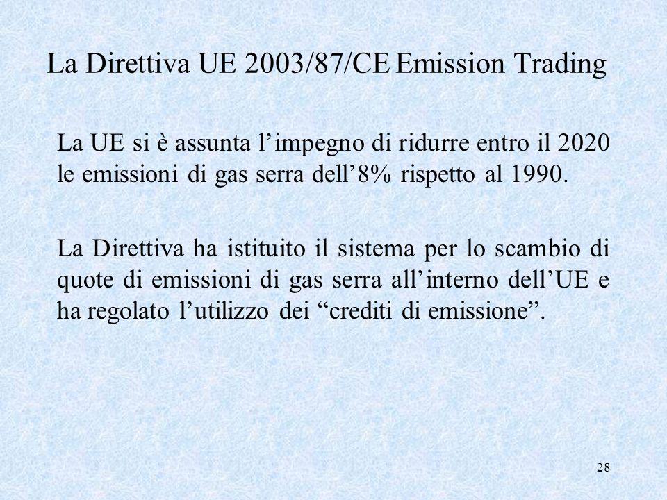 La Direttiva UE 2003/87/CE Emission Trading