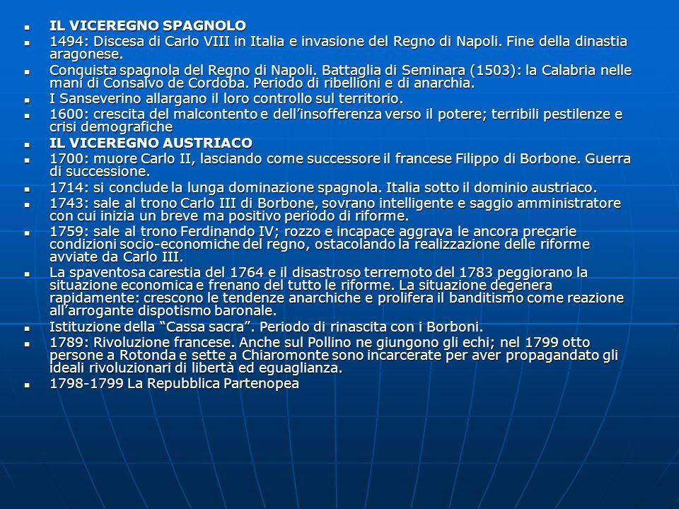 IL VICEREGNO SPAGNOLO 1494: Discesa di Carlo VIII in Italia e invasione del Regno di Napoli. Fine della dinastia aragonese.