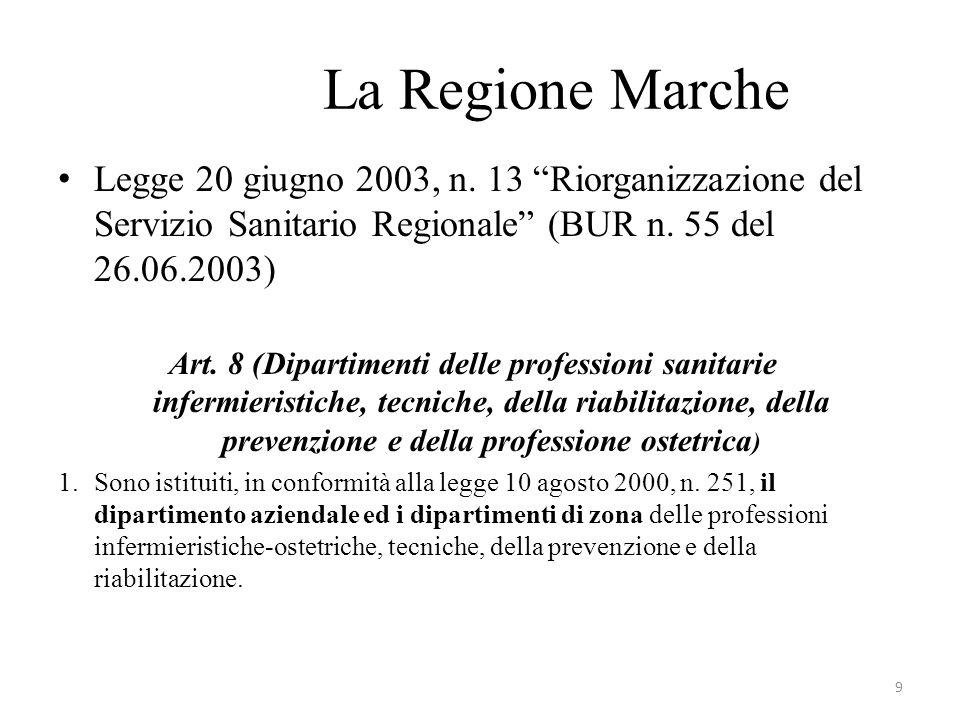 La Regione Marche Legge 20 giugno 2003, n. 13 Riorganizzazione del Servizio Sanitario Regionale (BUR n. 55 del 26.06.2003)