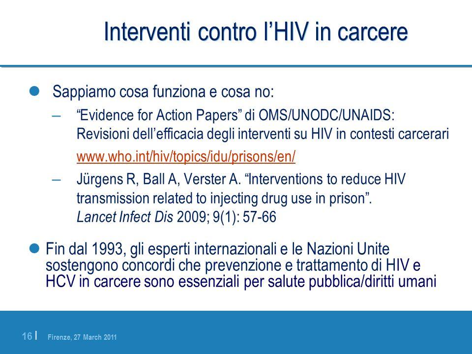 Interventi contro l'HIV in carcere