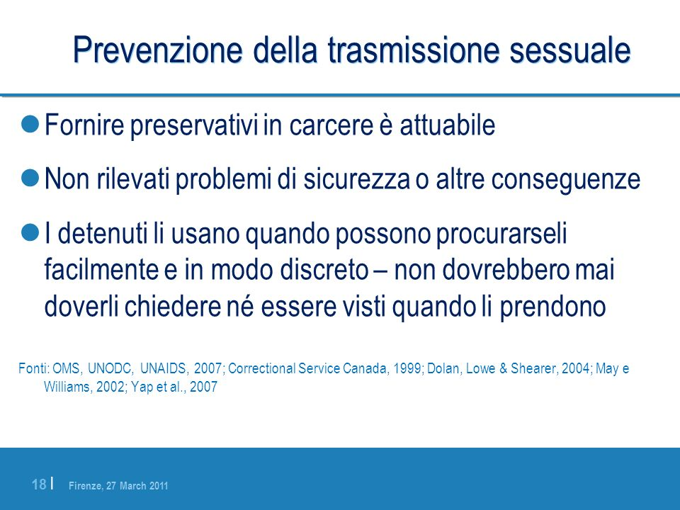 Prevenzione della trasmissione sessuale
