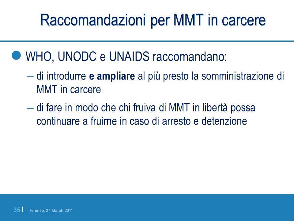 Raccomandazioni per MMT in carcere