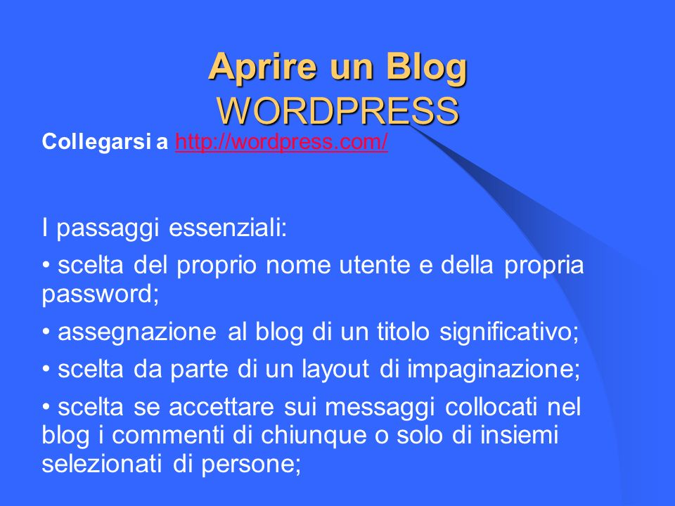 Aprire un Blog WORDPRESS
