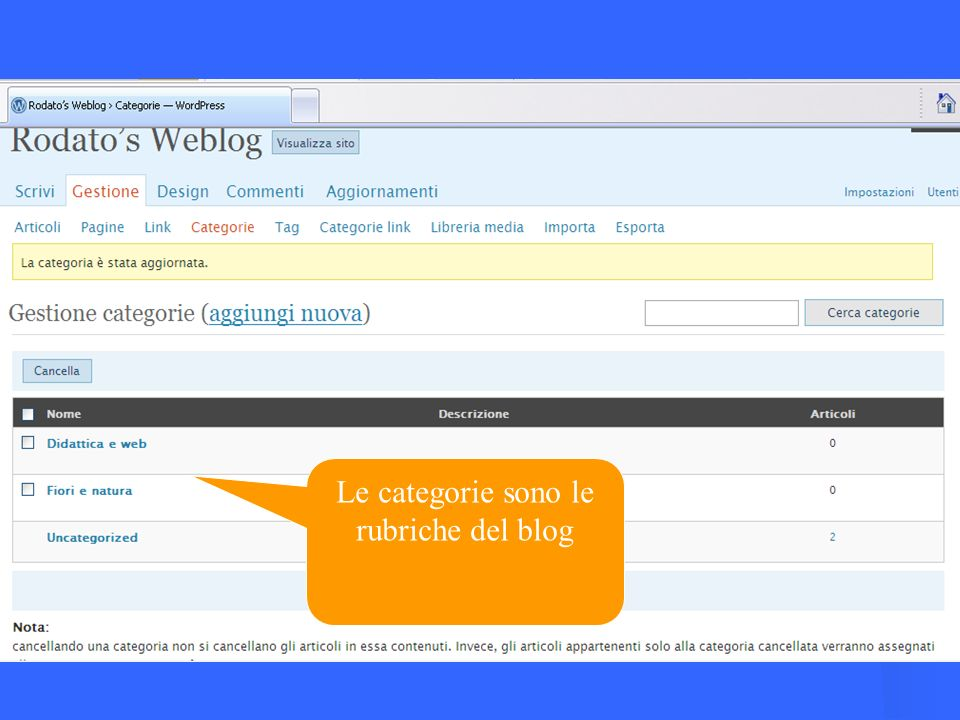Le categorie sono le rubriche del blog