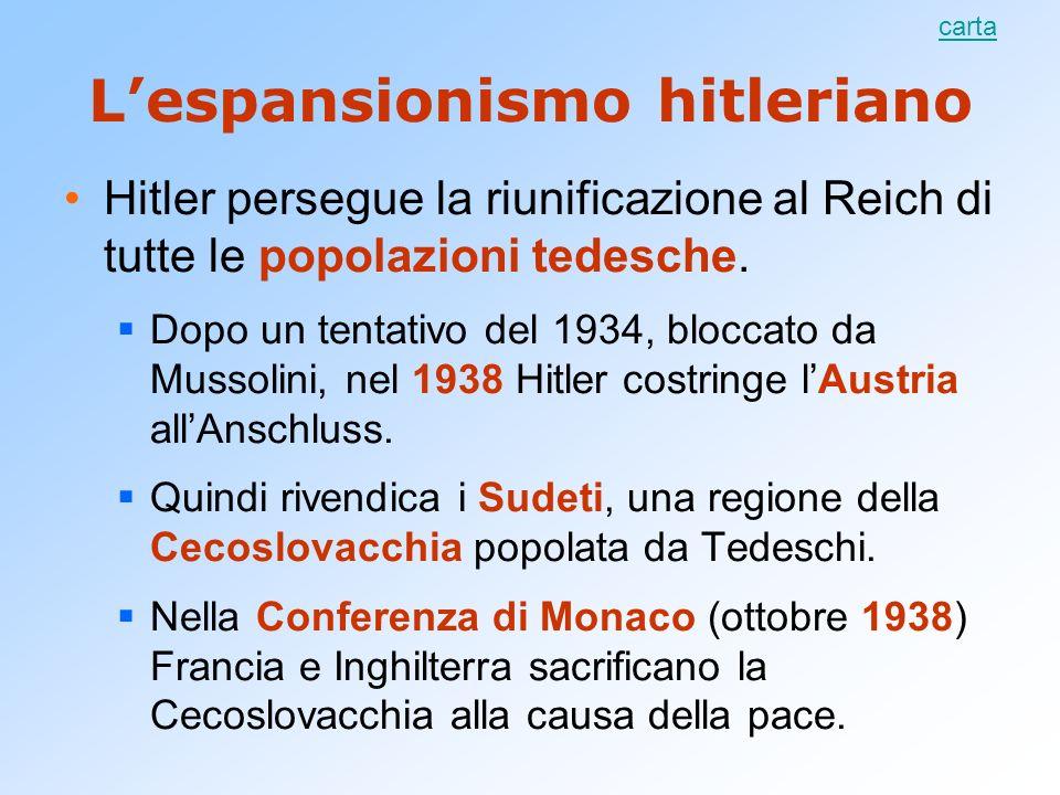 L'espansionismo hitleriano