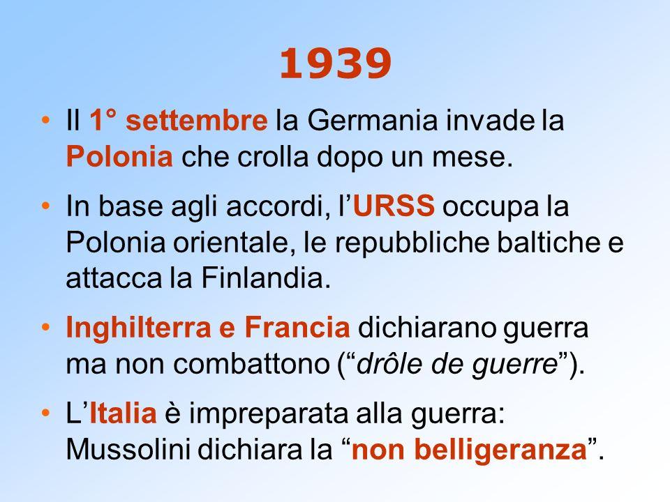 1939 Il 1° settembre la Germania invade la Polonia che crolla dopo un mese.