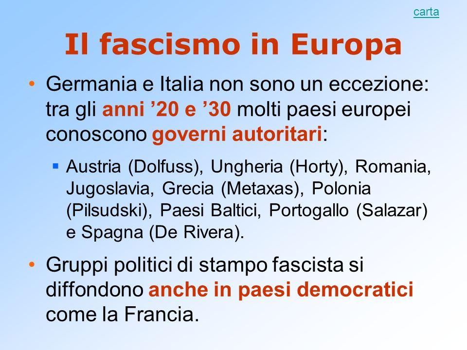 carta Il fascismo in Europa. Germania e Italia non sono un eccezione: tra gli anni '20 e '30 molti paesi europei conoscono governi autoritari: