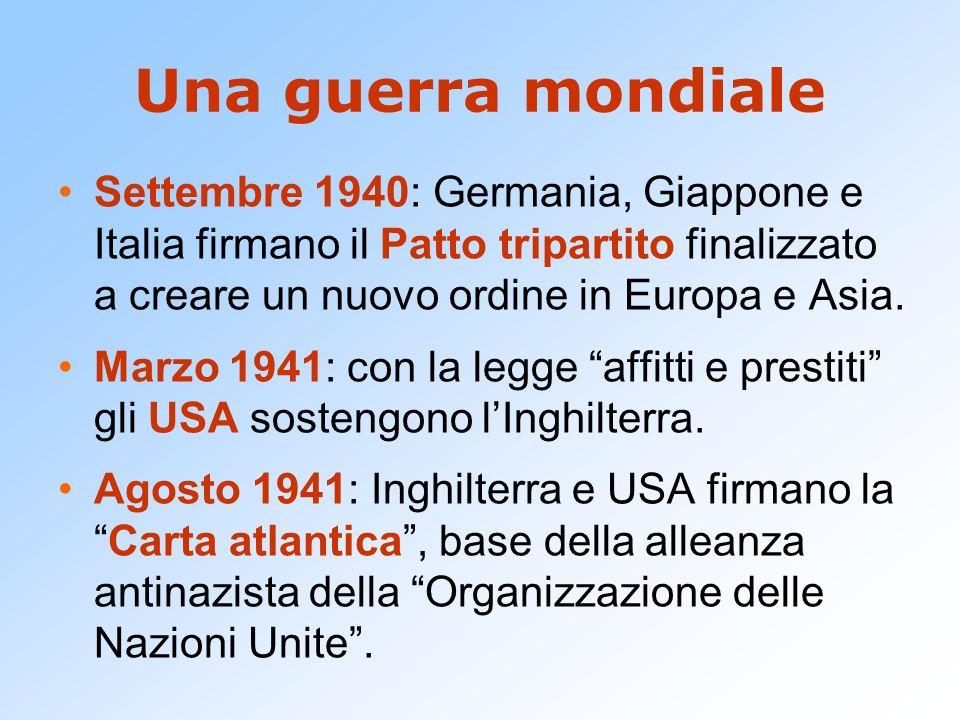 Una guerra mondiale Settembre 1940: Germania, Giappone e Italia firmano il Patto tripartito finalizzato a creare un nuovo ordine in Europa e Asia.