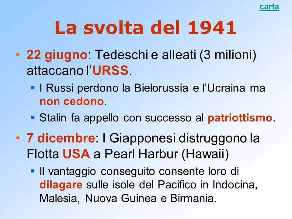 carta La svolta del 1941. 22 giugno: Tedeschi e alleati (3 milioni) attaccano l'URSS. I Russi perdono la Bielorussia e l'Ucraina ma non cedono.