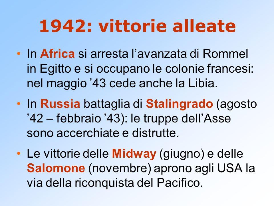 1942: vittorie alleate In Africa si arresta l'avanzata di Rommel in Egitto e si occupano le colonie francesi: nel maggio '43 cede anche la Libia.