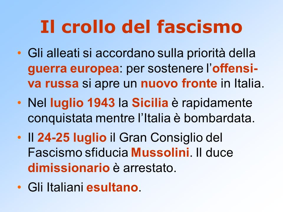 Il crollo del fascismo