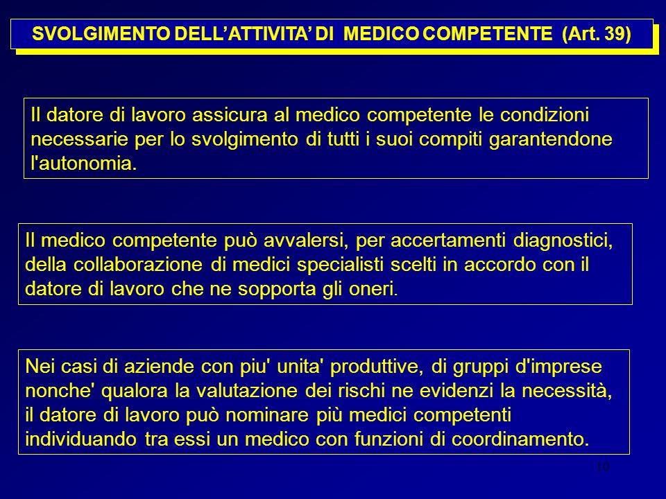 SVOLGIMENTO DELL'ATTIVITA' DI MEDICO COMPETENTE (Art. 39)