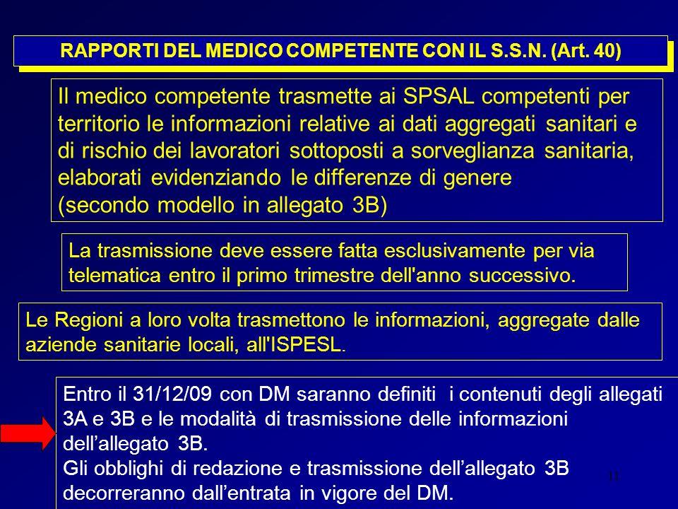 RAPPORTI DEL MEDICO COMPETENTE CON IL S.S.N. (Art. 40)