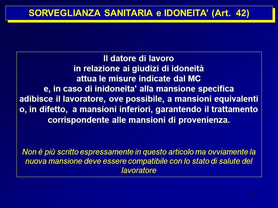 SORVEGLIANZA SANITARIA e IDONEITA' (Art. 42)