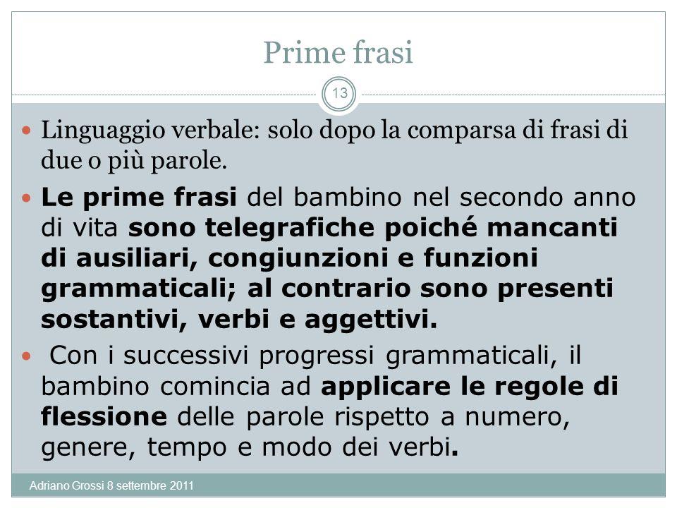 Prime frasi Linguaggio verbale: solo dopo la comparsa di frasi di due o più parole.
