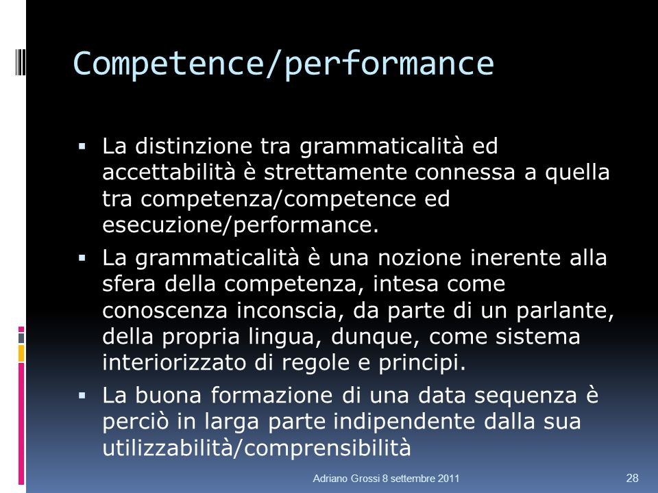 Competence/performance