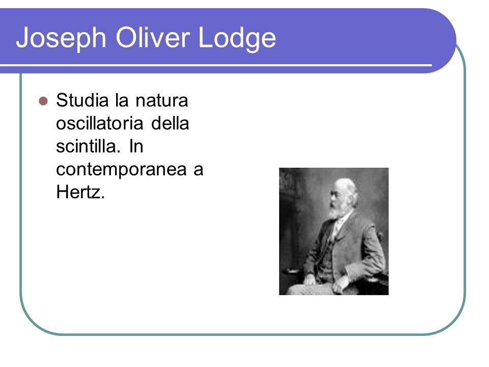 Joseph Oliver Lodge Studia la natura oscillatoria della scintilla. In contemporanea a Hertz.