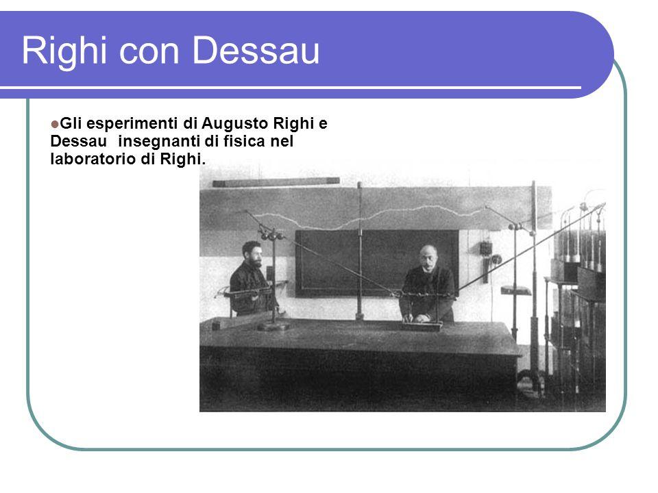 Righi con Dessau Gli esperimenti di Augusto Righi e Dessau insegnanti di fisica nel laboratorio di Righi.