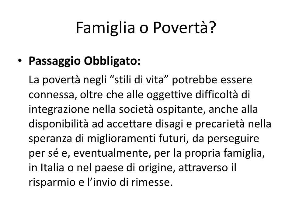 Famiglia o Povertà Passaggio Obbligato: