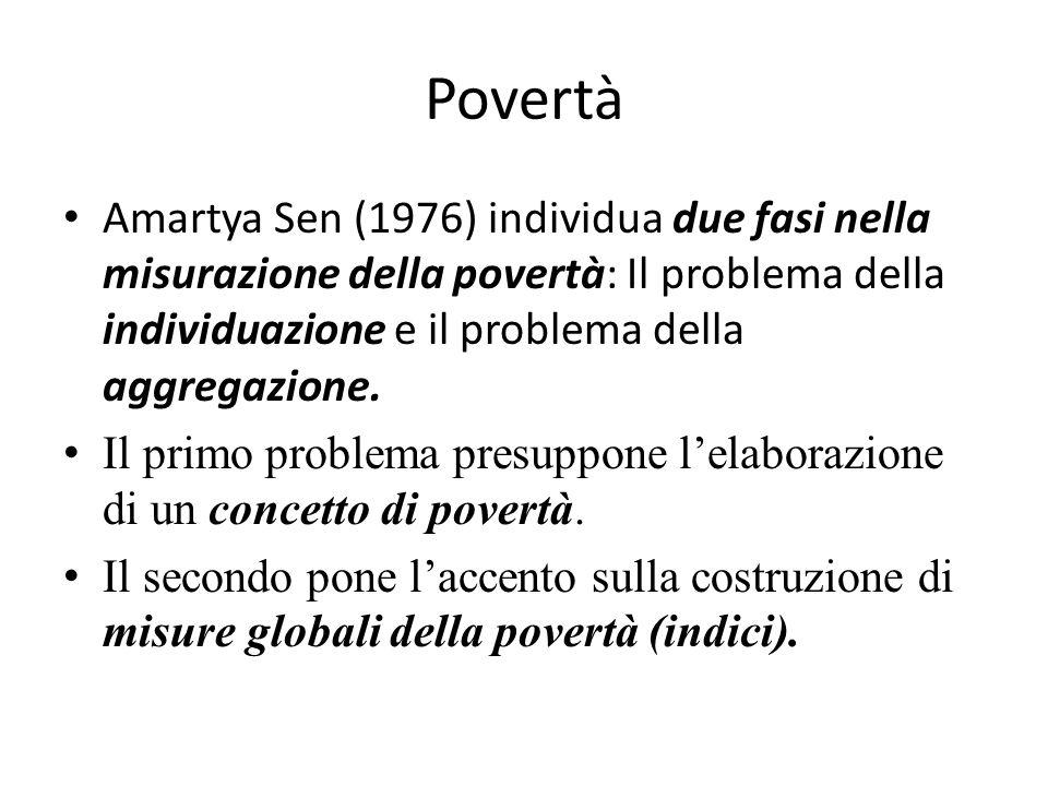 Povertà Amartya Sen (1976) individua due fasi nella misurazione della povertà: Il problema della individuazione e il problema della aggregazione.