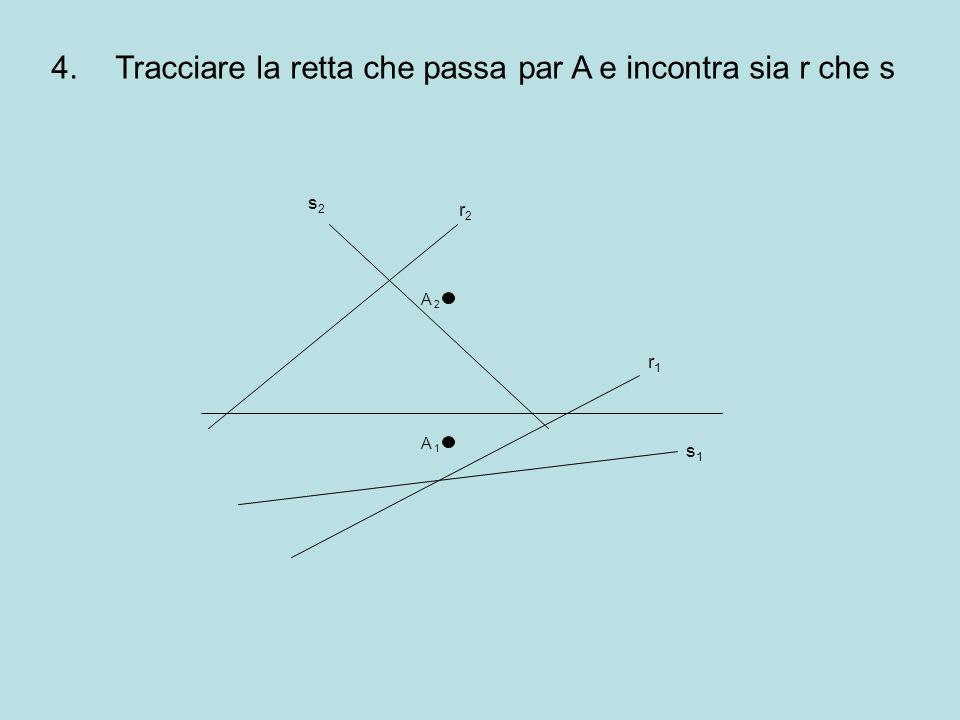 Tracciare la retta che passa par A e incontra sia r che s
