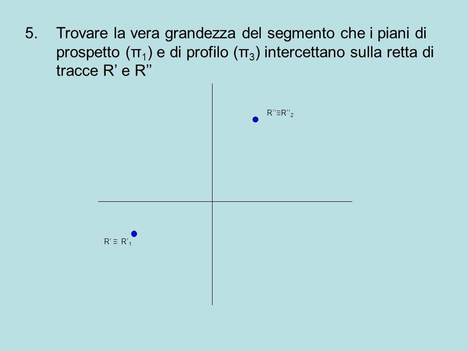 Trovare la vera grandezza del segmento che i piani di prospetto (π1) e di profilo (π3) intercettano sulla retta di tracce R' e R''