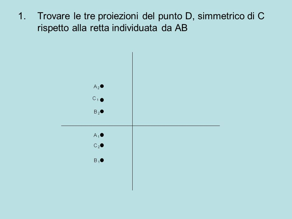 Trovare le tre proiezioni del punto D, simmetrico di C rispetto alla retta individuata da AB