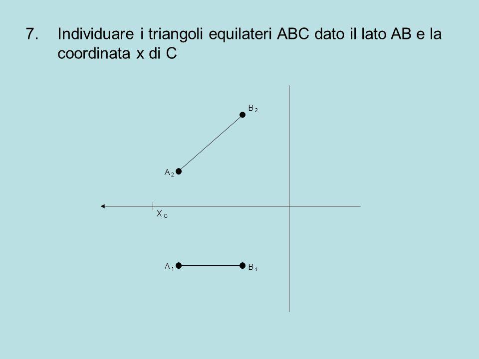 Individuare i triangoli equilateri ABC dato il lato AB e la coordinata x di C