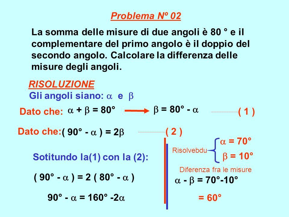 Sotitundo la(1) con la (2):  = 10°