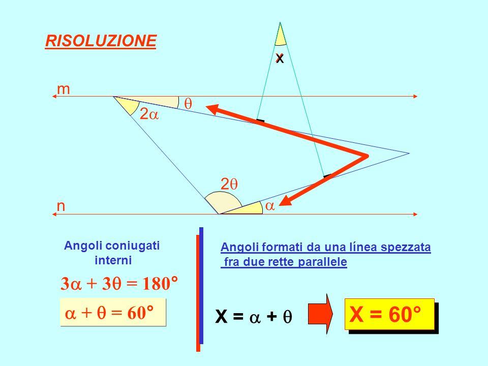 X = 60° 3 + 3 = 180°  +  = 60° X =  +  RISOLUZIONE x x m  2 2