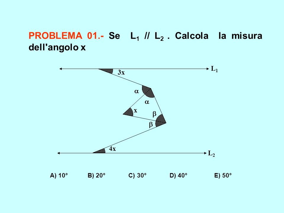 PROBLEMA 01.- Se L1 // L2 . Calcola la misura dell angolo x