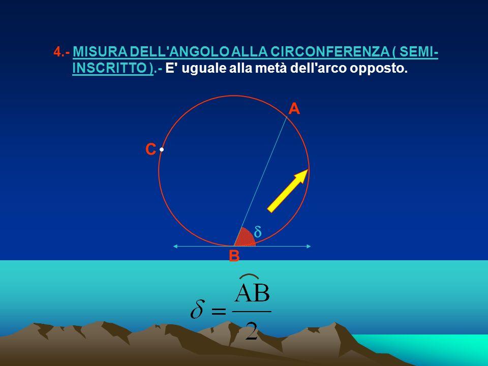 4. - MISURA DELL ANGOLO ALLA CIRCONFERENZA ( SEMI- INSCRITTO )