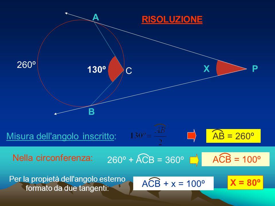 Per la propietà dell angolo esterno formato da due tangenti:
