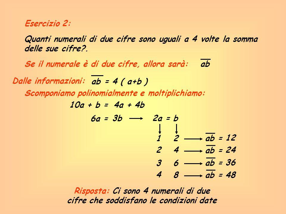 Esercizio 2: Quanti numerali di due cifre sono uguali a 4 volte la somma delle sue cifre . Se il numerale è di due cifre, allora sarà: