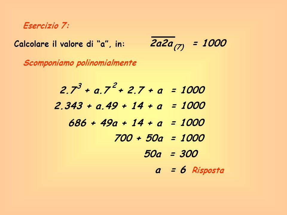 Esercizio 7: Calcolare il valore di a , in: 2a2a. = 1000. (7) Scomponiamo polinomialmente. 3.