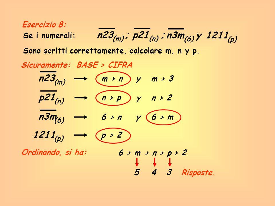 n23 ; p21 ; n3m y 1211 n23 p21 n3m 1211 Esercizio 8: Se i numerali: