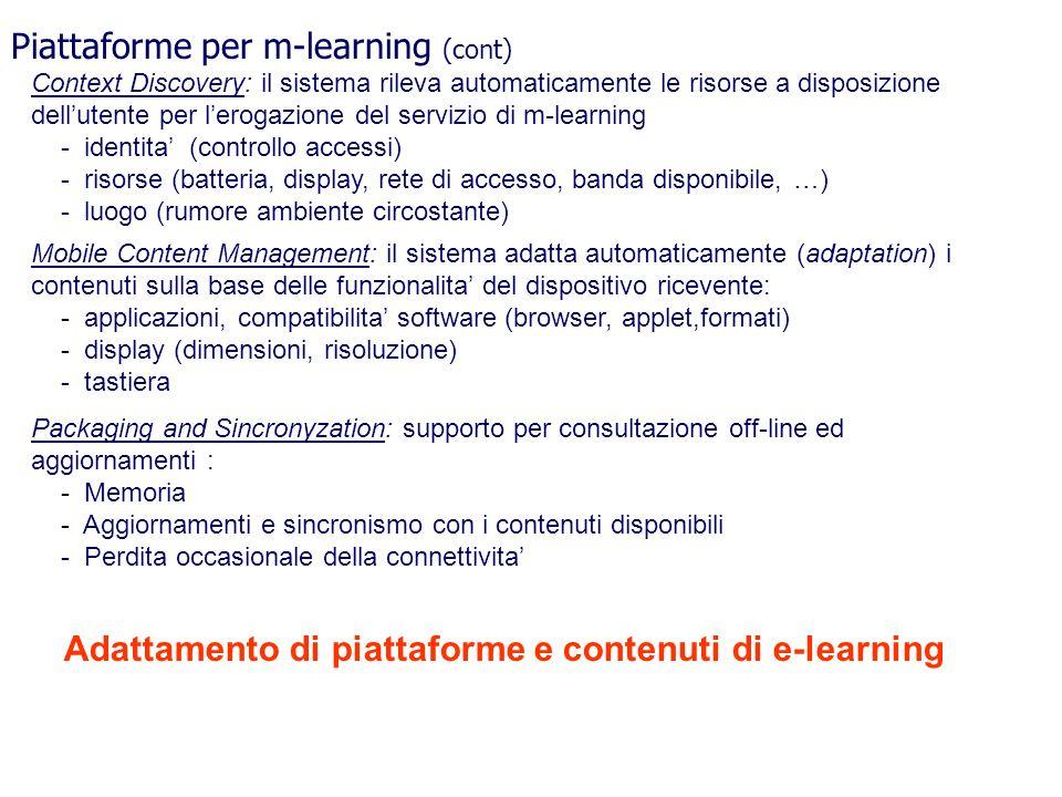 Piattaforme per m-learning (cont)