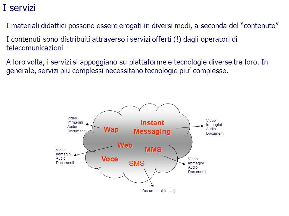 I servizi I materiali didattici possono essere erogati in diversi modi, a seconda del contenuto