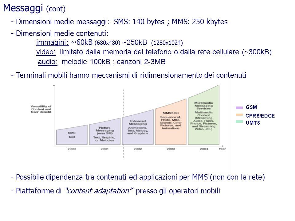 Messaggi (cont) Dimensioni medie messaggi: SMS: 140 bytes ; MMS: 250 kbytes. Dimensioni medie contenuti: