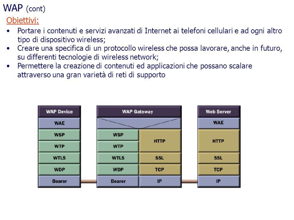 WAP (cont) Obiettivi: Portare i contenuti e servizi avanzati di Internet ai telefoni cellulari e ad ogni altro.