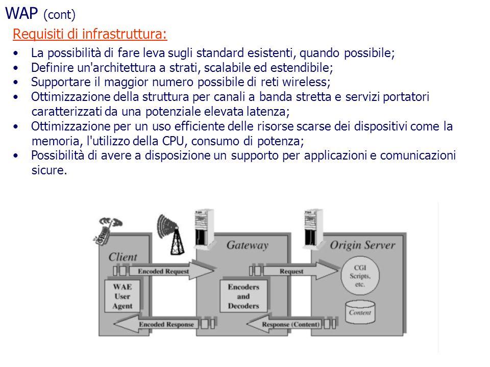 WAP (cont) Requisiti di infrastruttura: