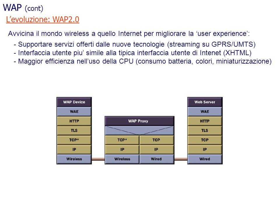 WAP (cont) L'evoluzione: WAP2.0