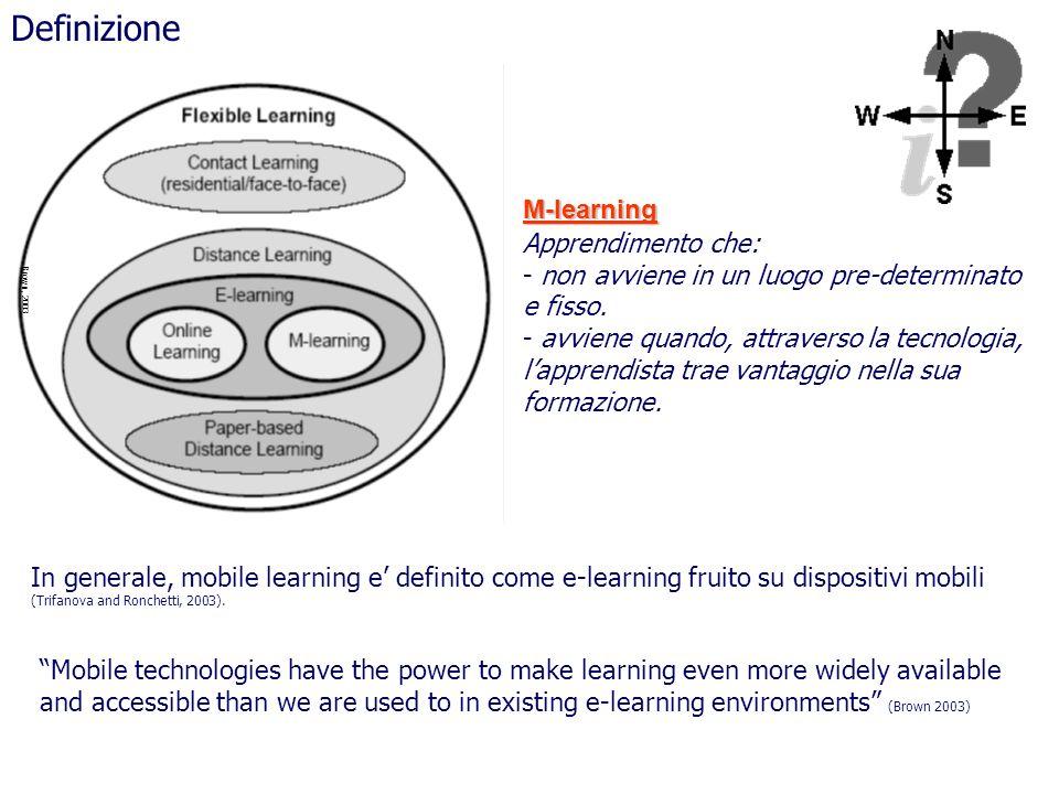 Definizione M-learning Apprendimento che: