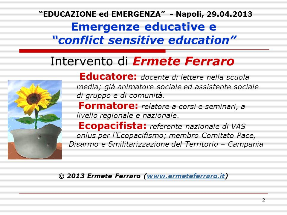 Emergenze educative e conflict sensitive education