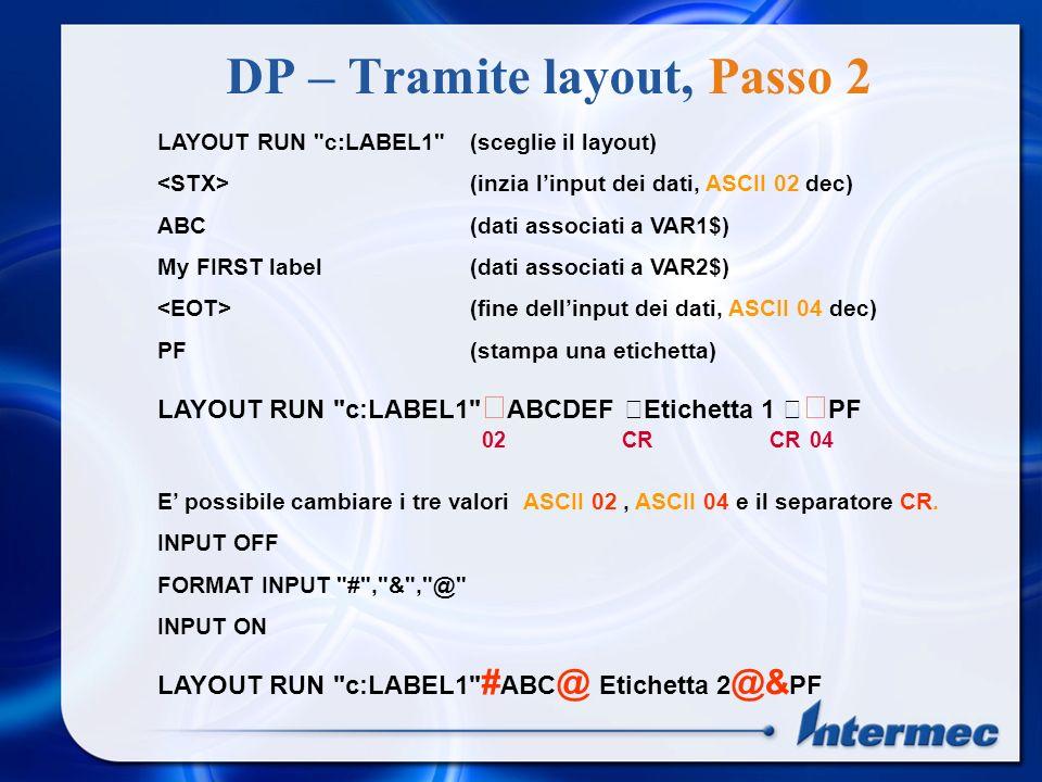 DP – Tramite layout, Passo 2