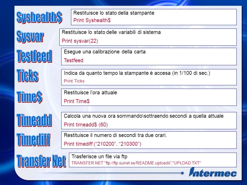 Syshealth$ Sysvar Testfeed Ticks Time$ Timeadd Timediff Transfer Net