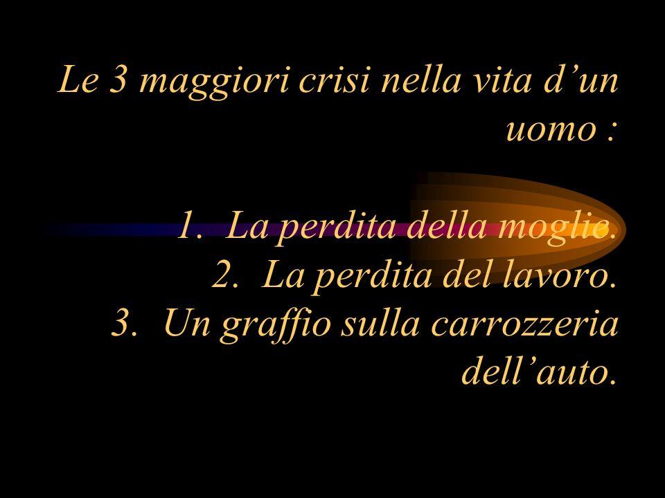 Le 3 maggiori crisi nella vita d'un uomo : 1. La perdita della moglie